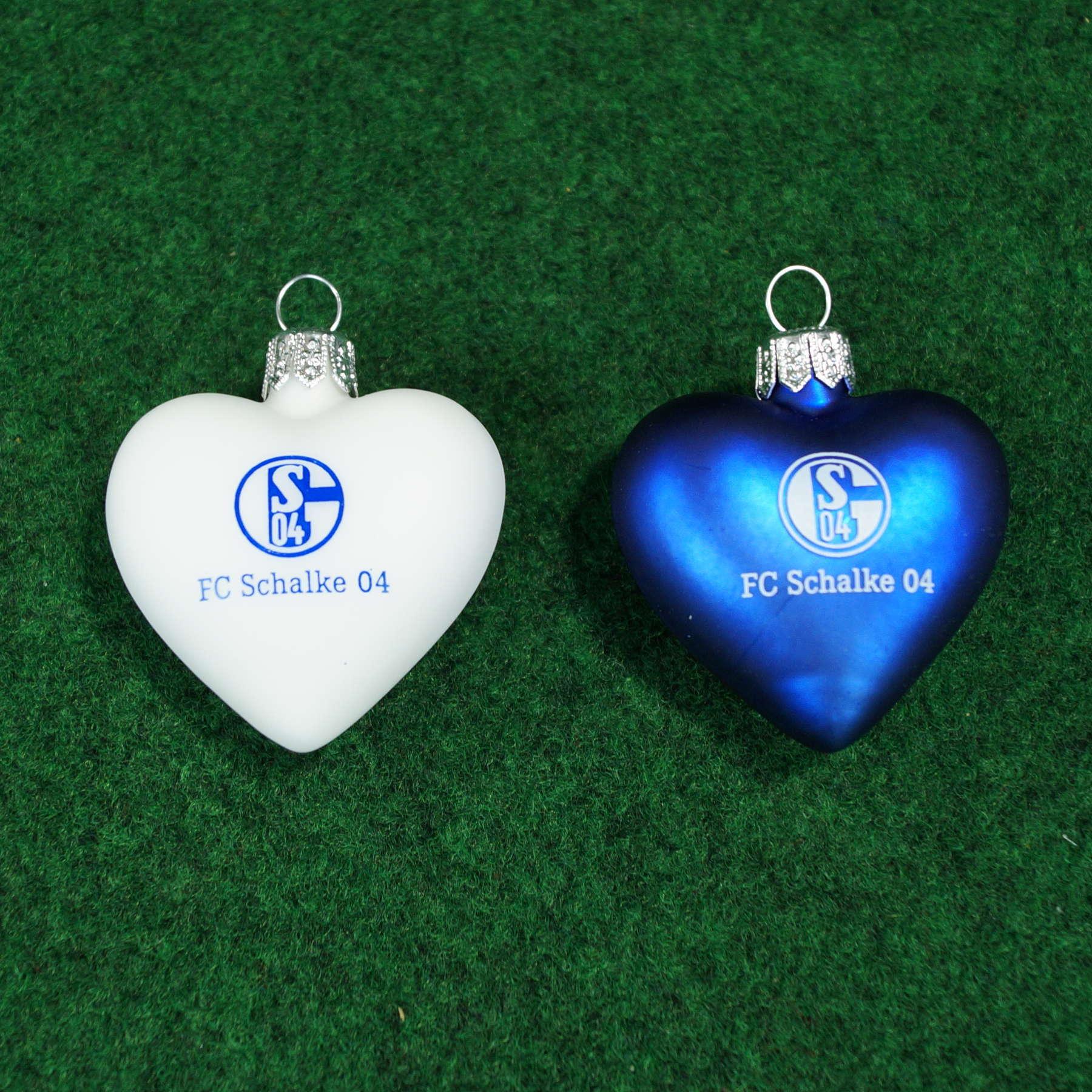 FC Schalke 04 Glasherzen 2er-Set, Christbaumschmuck