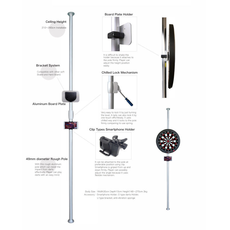 GranDarts Pole Stand Dartboardständer Silber