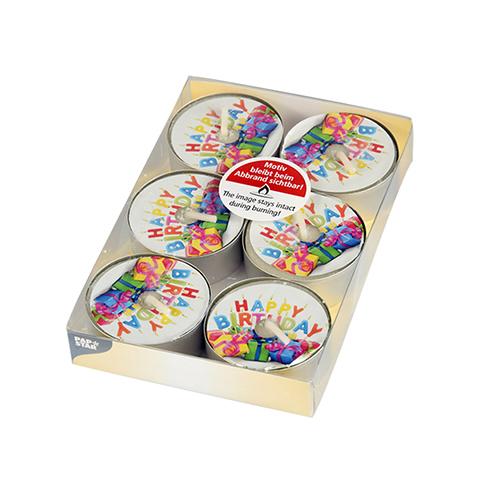 Teelichte Happy Birthday 6er Pack (Staffelpreis)