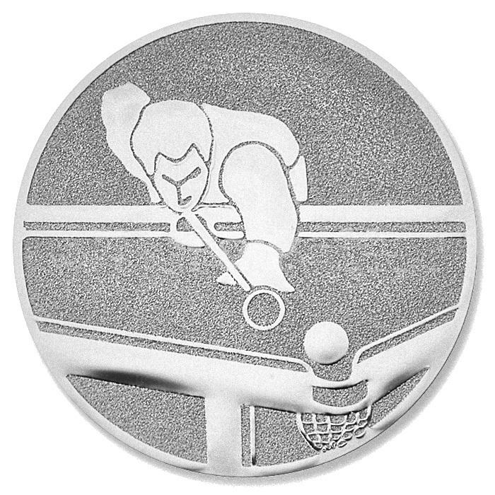 Emblem Billard silber für Pokale und Medaillen