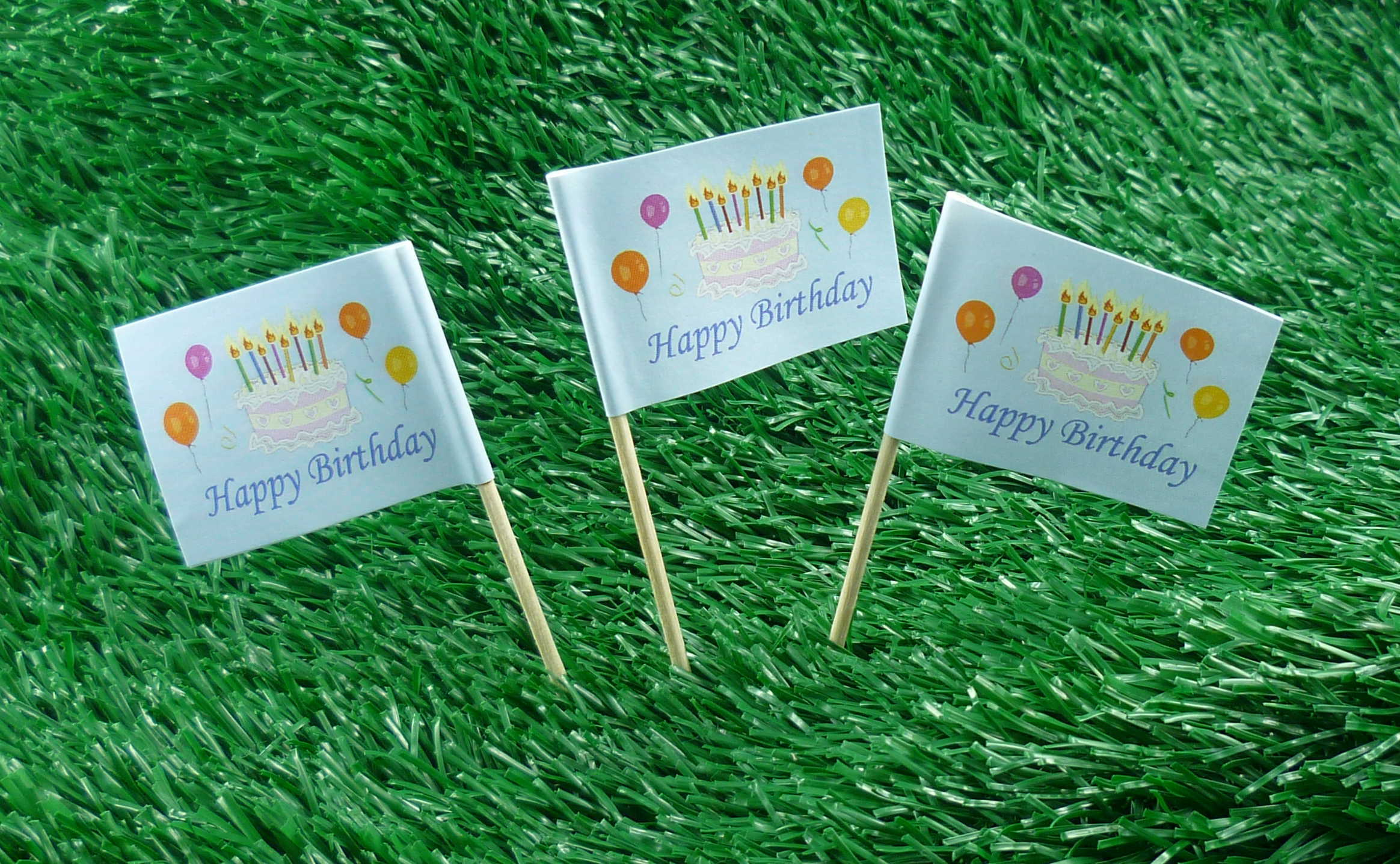 Minifahnen Happy Birthday 50er Pack